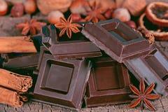 Pieces of dark chocolate Stock Photos