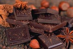 Pieces of dark chocolate Royalty Free Stock Image