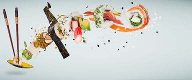 Pieces of delicious japanese sushi frozen in the air. Stock Image