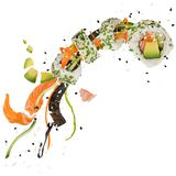 Pieces of delicious japanese sushi frozen in the air. Royalty Free Stock Photography