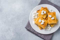 Pieces of delicious pumpkin pie with marshmallow and nuts on a plate. copy space royalty free stock image