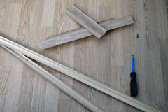 Pieces of dismantled baseboard Stock Photos