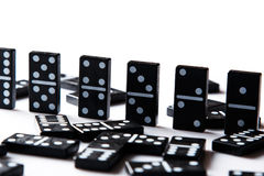 Pieces of domino. Pieces of  black domino tiles Stock Photo