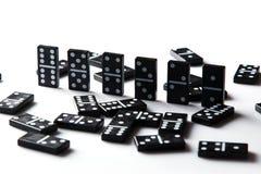 Pieces of domino. Pieces of  black domino tiles Stock Photos
