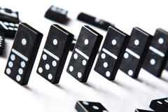 Pieces of domino on white Royalty Free Stock Photos