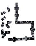 Pieces of domino on white. Pieces of  black domino tiles Stock Photos