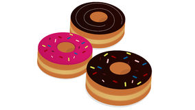 3 pieces of donut. A color cartoon style donut on white background Stock Photo