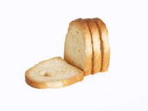 Pieces of dried bread. On white background stock images
