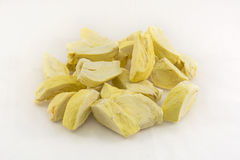 Pieces of durian freeze dry process. Group of dry durian on white background Royalty Free Stock Photos