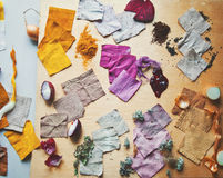 Pieces of dyed linen. Natural recources of pigments and dyed pieces of linen stock photos