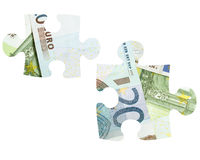 Pieces of Euro banknotes puzzle Royalty Free Stock Image