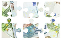 Pieces of Euro banknotes puzzle Royalty Free Stock Images