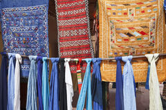 Pieces of fabric in Morocco. stock image