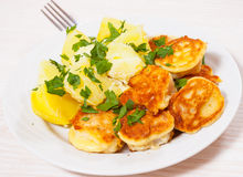 Pieces of fish fillets in batter with potato Royalty Free Stock Photos