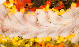 Pieces of fish with vegetables and seaweed Royalty Free Stock Photo