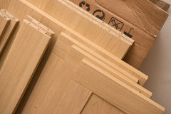 Pieces of Flat Pack Furniture. Ready for assembly Royalty Free Stock Photo