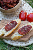 Pieces of french bread with dried tomatoes,oilve oil,and oregan Royalty Free Stock Photography