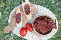 Pieces of french bread with dried tomatoes,oilve oil,and oregan Stock Photos