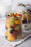 Pieces of fresh fruit with yogurt in a glass jar vertical Royalty Free Stock Images