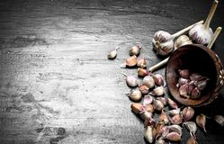Pieces of fresh garlic in a wooden bowl. On a black chalkboard Stock Images