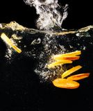 Pieces of fresh lemon and orange in water. Royalty Free Stock Photography