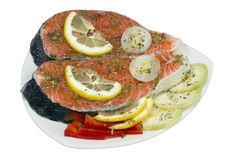 Pieces of a fresh Norwegian salmon Stock Images