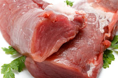 Pieces of fresh raw pork tenderloin. Close up.  Royalty Free Stock Photos