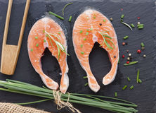 Pieces of fresh salmon Stock Photo