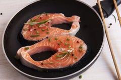 Pieces of fresh salmon on the pan.Fresh salmon Stock Image