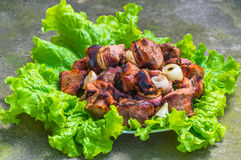 Pieces of fried meat Stock Photo