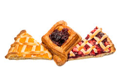 pieces of fruit cake isolated Stock Photography