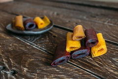 Pieces of fruit leather Royalty Free Stock Images