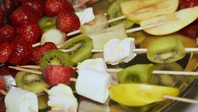 Pieces of Fruit, strawberries, a kiwi, apple and fruit jelly lie on a plate stock video