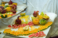 Pieces of fruit, swans from fruit Stock Photos