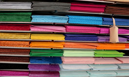 Pieces of glittery fabric and felt for sale in hobby shop Stock Photography