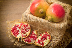 Pieces and grains of ripe pomegranate Royalty Free Stock Photo