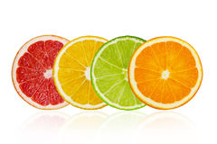 Pieces of grapefruit, lemon, lime, orange isolated on white background. Pieces of pink grapefruit, lemon, lime, orange isolated on white background royalty free stock image
