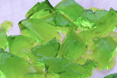 Pieces of green jelly. Selective focus Royalty Free Stock Photos