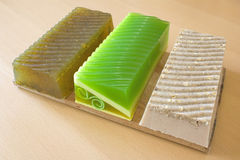 Pieces of handmade soap Stock Photos