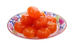 Pieces Hard Candy on Plate Royalty Free Stock Image