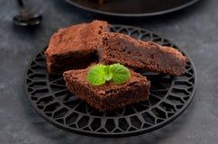 Pieces сhocolate cake brownies Stock Photography