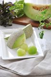 Pieces of Honeydew Melon on White Plate Royalty Free Stock Images