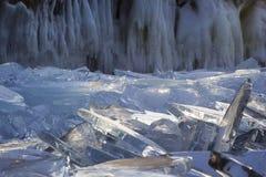 Pieces of ice glisten in the sun. Lake Baikal, Russia. Stock Image