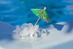 Pieces of ice near the pool Royalty Free Stock Photo