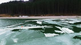 Pieces of ice on river. Beside the forest stock footage