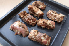 Pieces of marinated pork ribs Royalty Free Stock Image