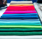 Pieces of material of different colors Stock Images