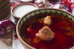 Pieces of meat in the borscht soup Royalty Free Stock Photo