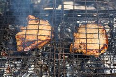 Pieces of meat are cooked on a barbecue grill on wooden coals in smoke. Stock Images