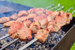 Pieces of meat are fried on fire on skewers stock images